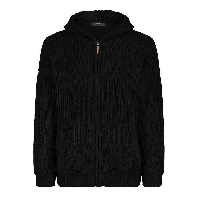H&H Men's Sherpa Lined Hooded Jumper, Black, hi-res