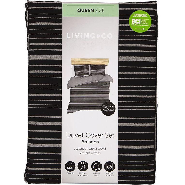 Living & Co Duvet Cover Set Cotton Brendon Black Super King, Black, hi-res
