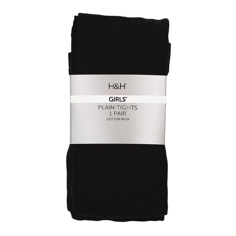 H&H Plain Tights 1 Pack, Black, hi-res