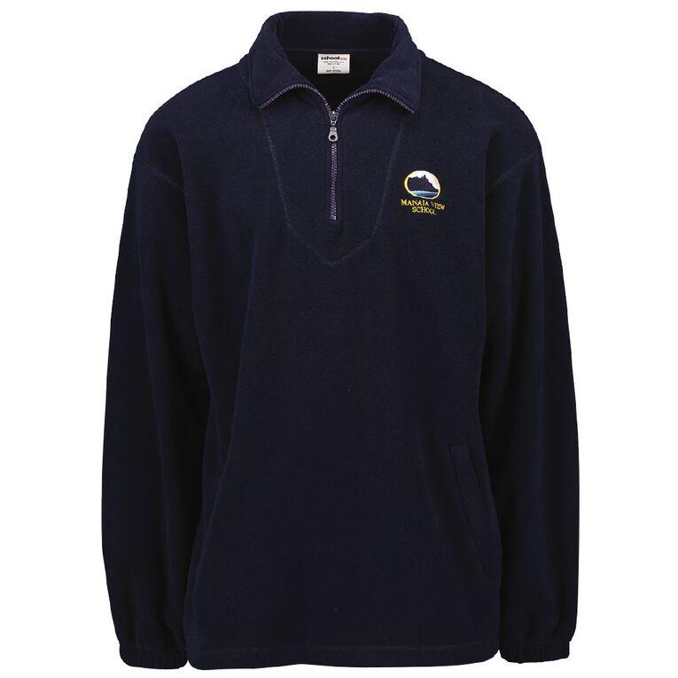 Schooltex Manaia View Polar Fleece Top with Embroidery, Navy, hi-res