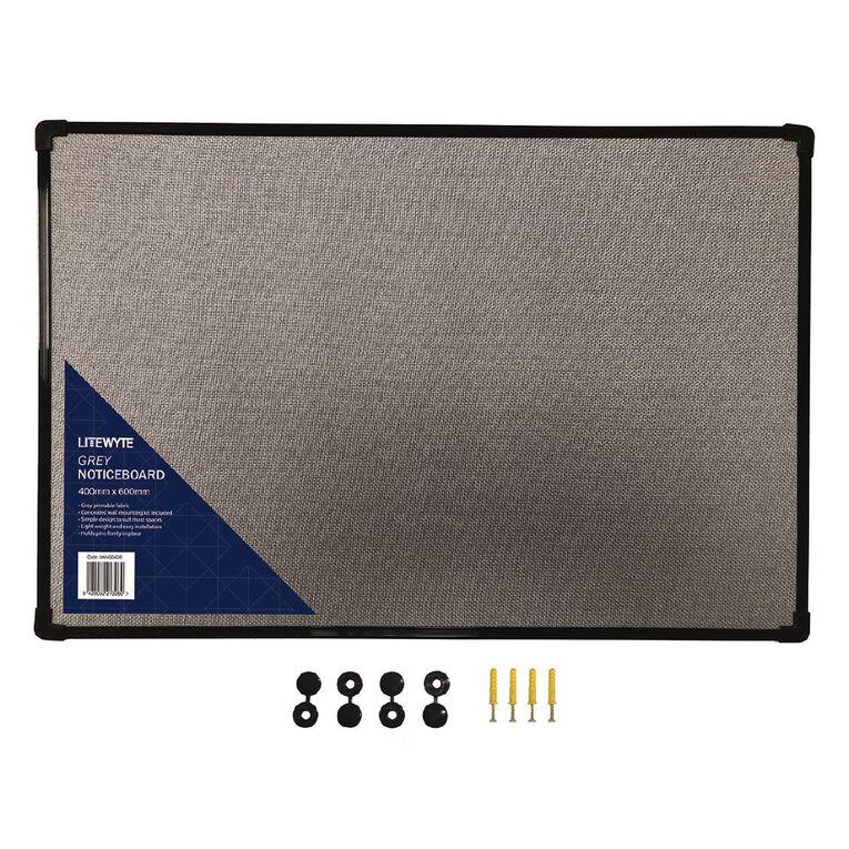 Litewyte Grey Fabric Pinboard 400mm x 600mm, , hi-res