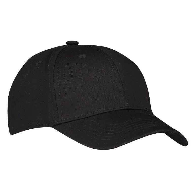 H&H Men's Twill Curved Peak Cap, Black, hi-res