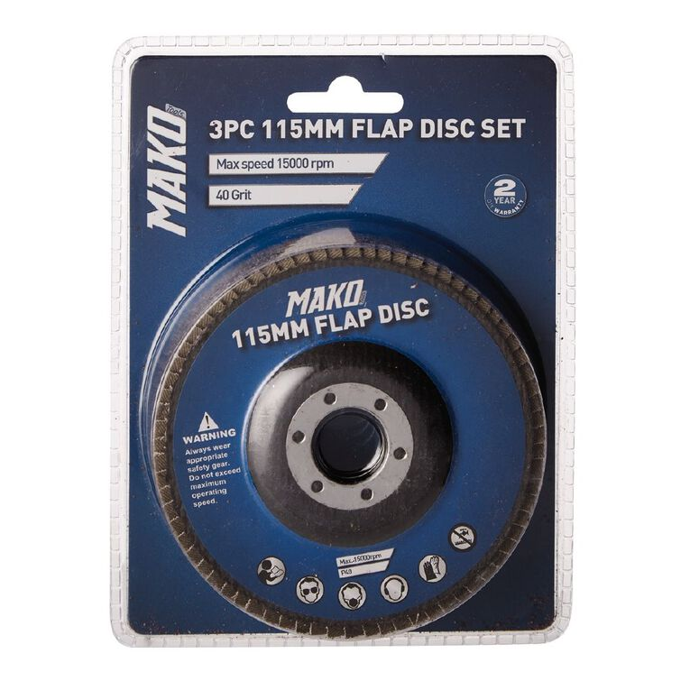 Mako 3 Piece Flap Disc Set 115mm, , hi-res