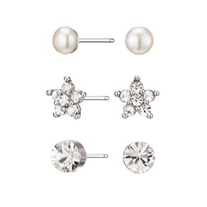 Mestige Silver Plated Janey Earring Set with Swarovski Crystals