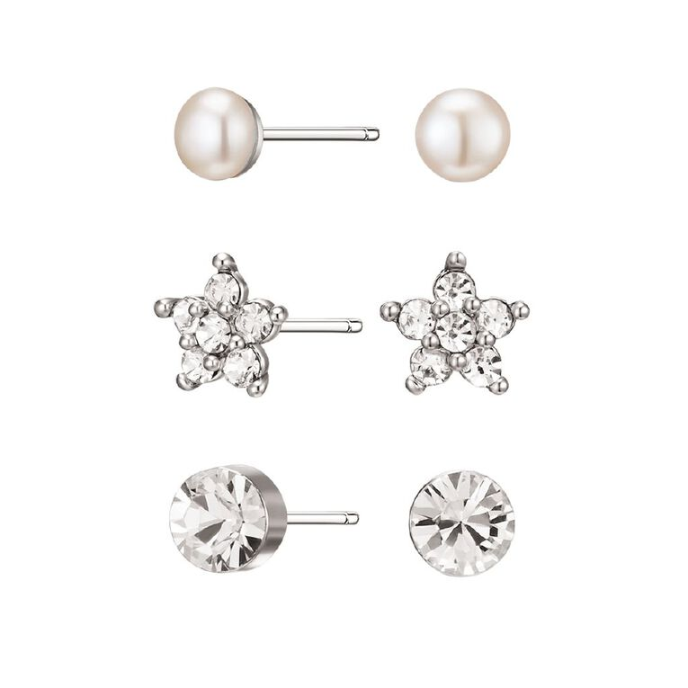 Mestige Silver Plated Janey Earring Set with Swarovski Crystals, , hi-res