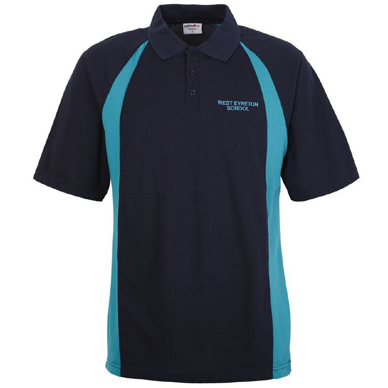 Schooltex West Eyreton Short Sleeve Polo with Embroidery, Navy Jade, hi-res
