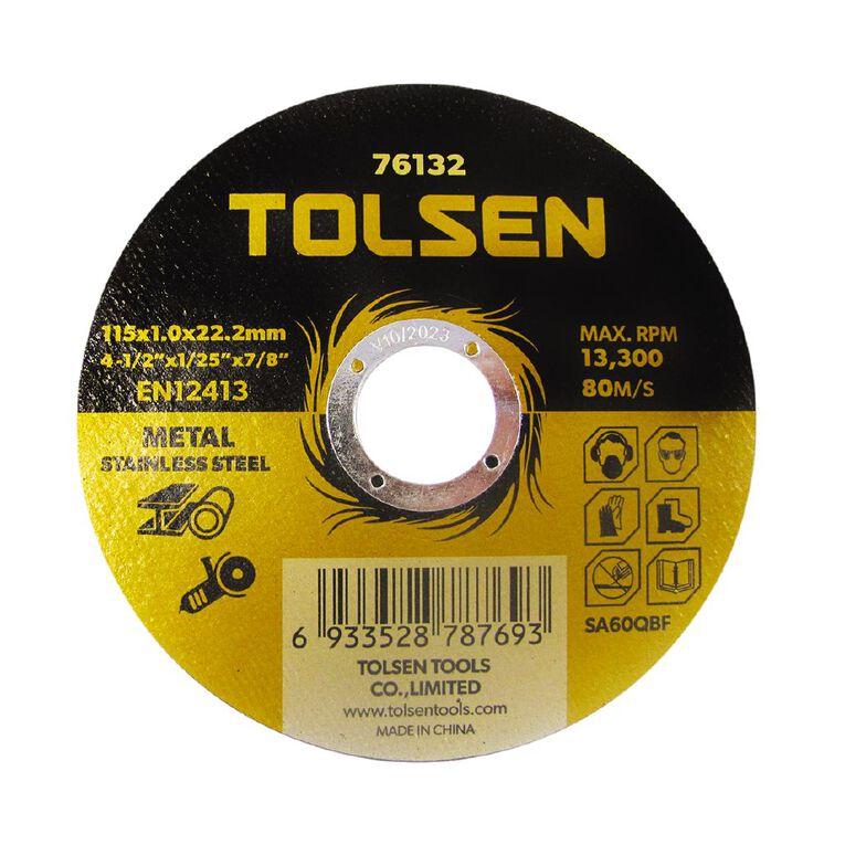 Tolsen Metal Cutting Disc 115mm x 1.0mm x 22mm 10 Pack, , hi-res