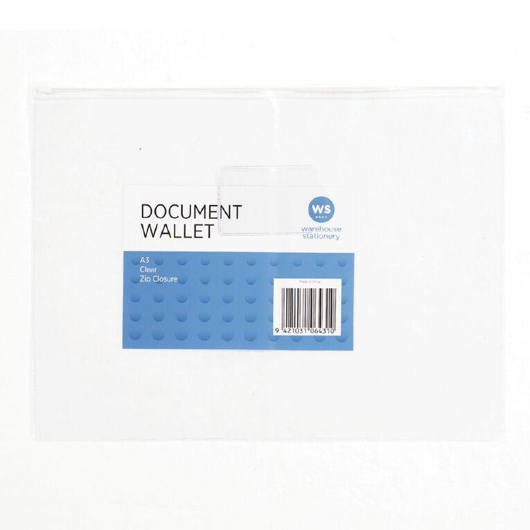 WS Clear Zipper Document Wallet A3, , hi-res