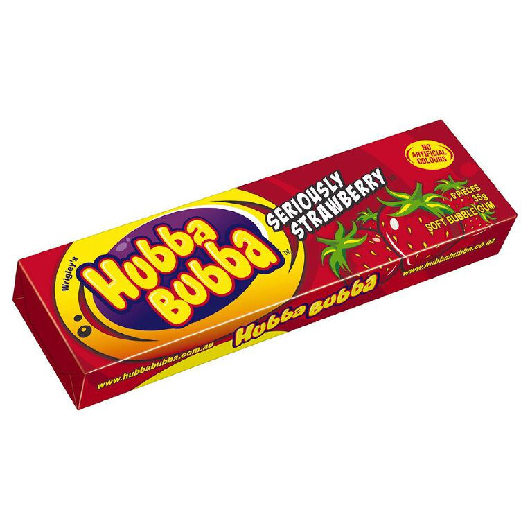 Hubba Bubba Seriously Strawberry Bubble Gum Chunk 5 Piece 35g, , hi-res