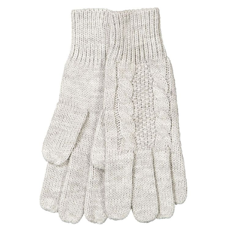 H&H Women's Cable Knit Gloves, Grey Marle, hi-res