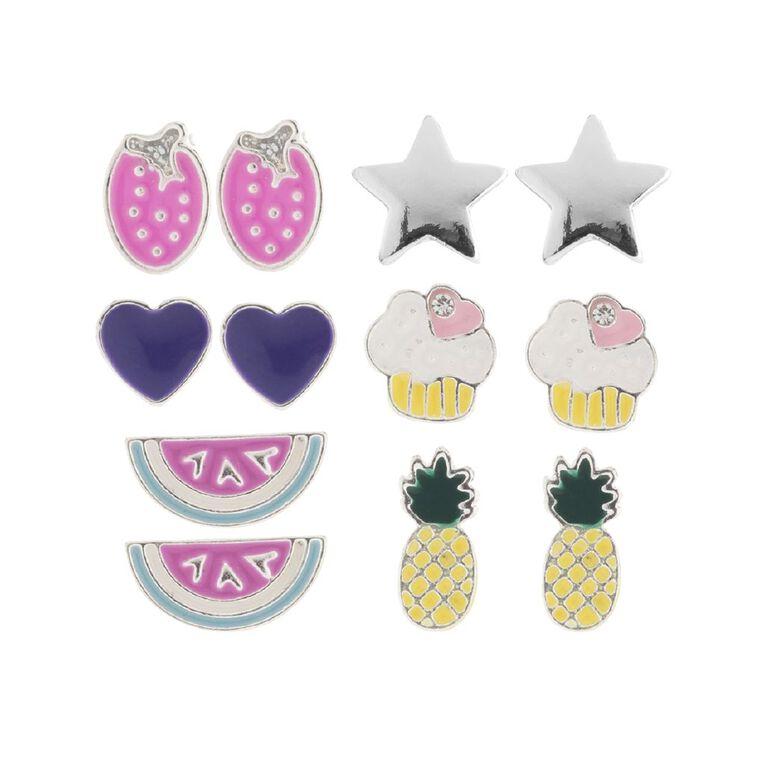 Kids Star Watermelon Earrings, Multi-Coloured, hi-res