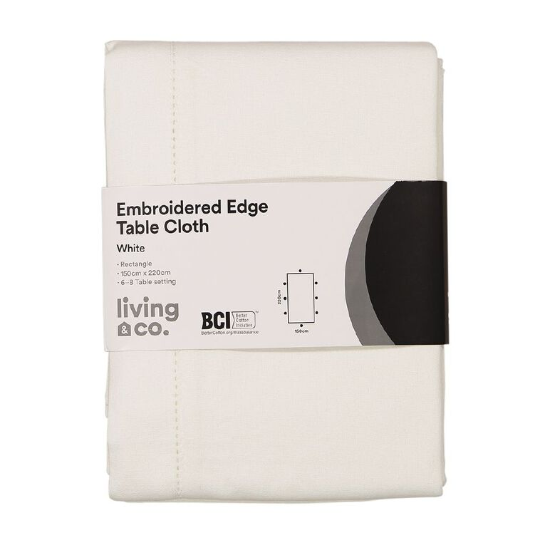 Living & Co Table Cloth with Embroidered Edge White 150cm x 220cm, , hi-res