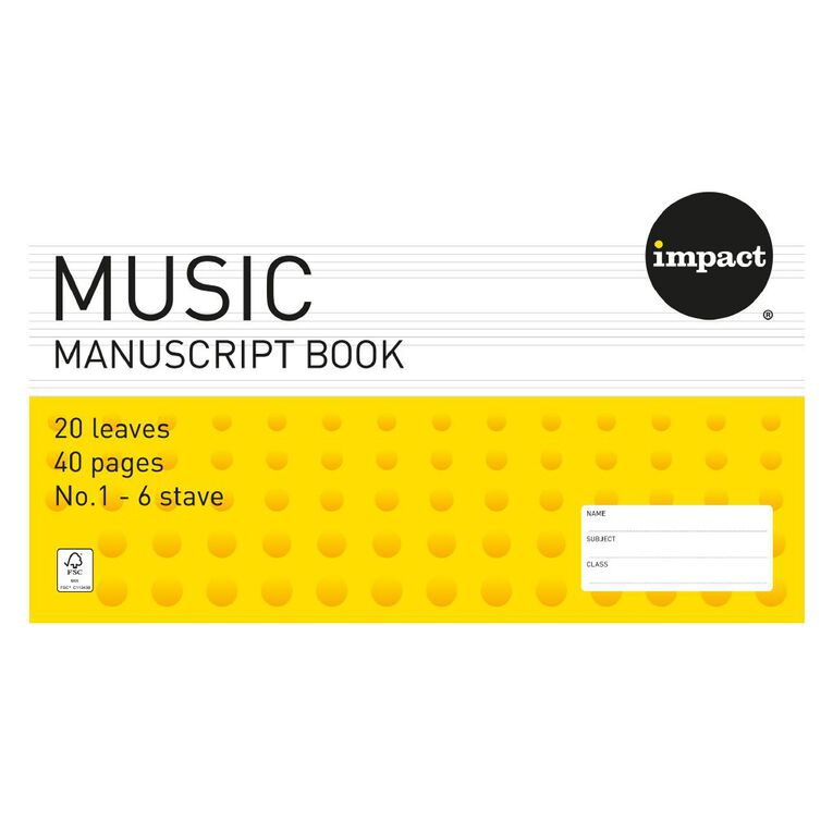 Impact Exercise Book Work Music #1 6 Stave 20 Leaf Yellow, , hi-res