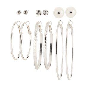 Basics Brand Diamante Ball Large Hoop Silver Earrings 6 Pairs
