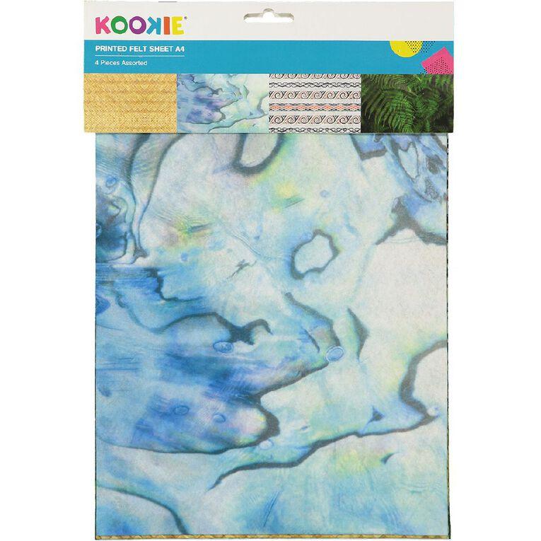 Kookie Printed Felt 4 Sheets NZ Theme A4, , hi-res