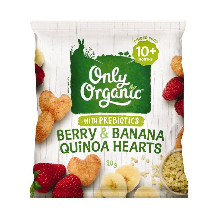 Only Organic Berry & Banana Quinoa Hearts Puffs 20g, , hi-res