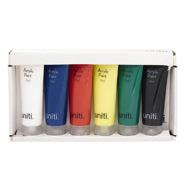 Uniti Acrylic Tubes 75ml 6 Pack, , hi-res