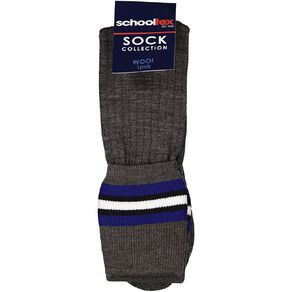 Schooltex Grey Socks with Royal and White Stripes