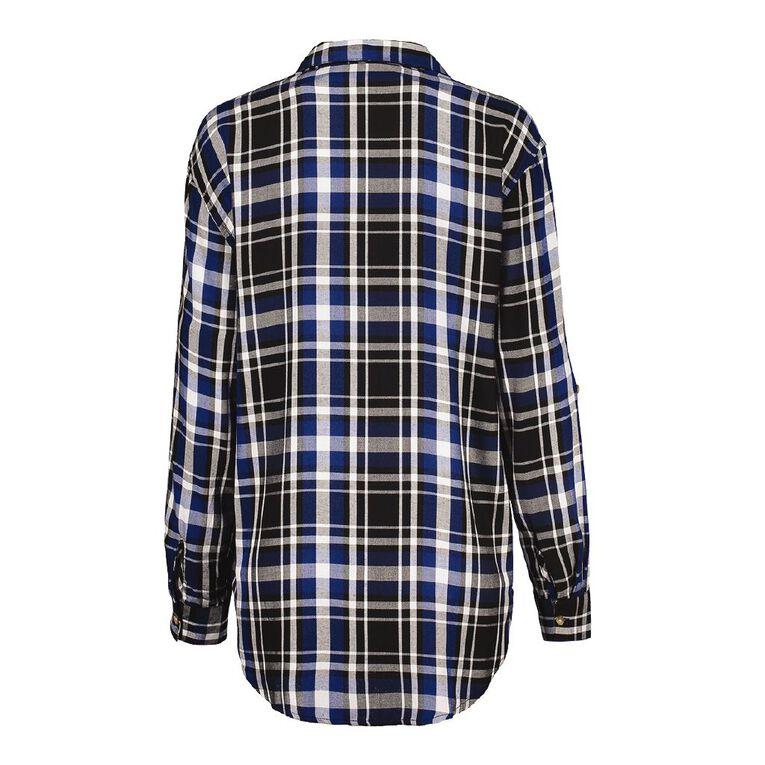 H&H Women's Long Sleeve Check Shirt, Black/Blue, hi-res
