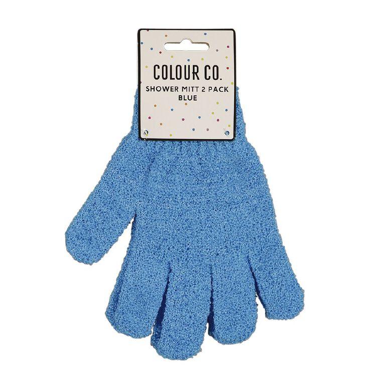 Colour Co. Shower Mitt Blue 2 Pack, , hi-res