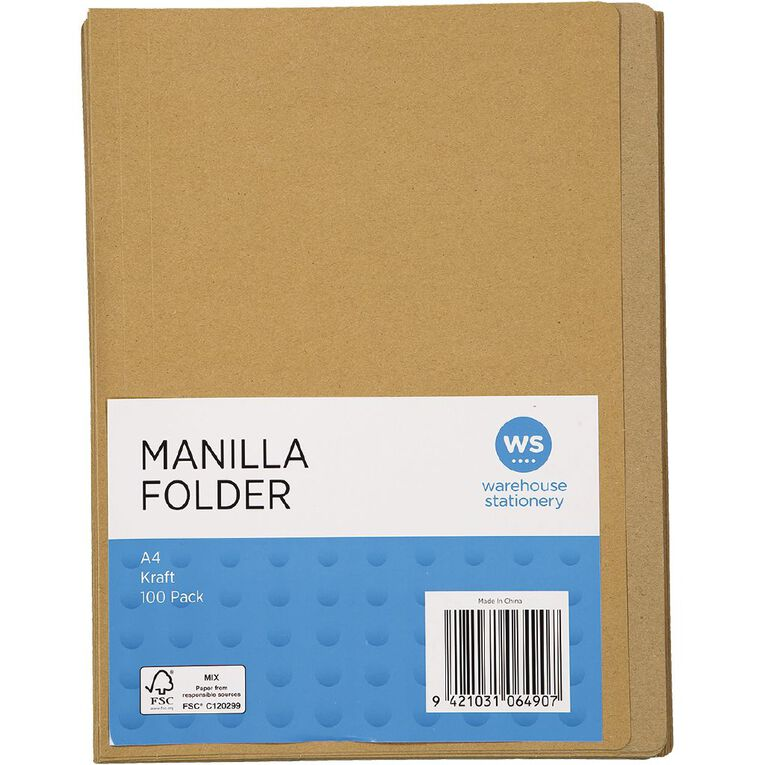 WS Manilla Folders 100 Pack Kraft A4, , hi-res image number null