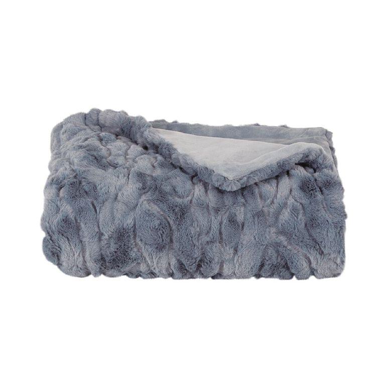 Living & Co Textured Faux Fur Throw Mirage Blue 120cm x 140cm, Blue, hi-res