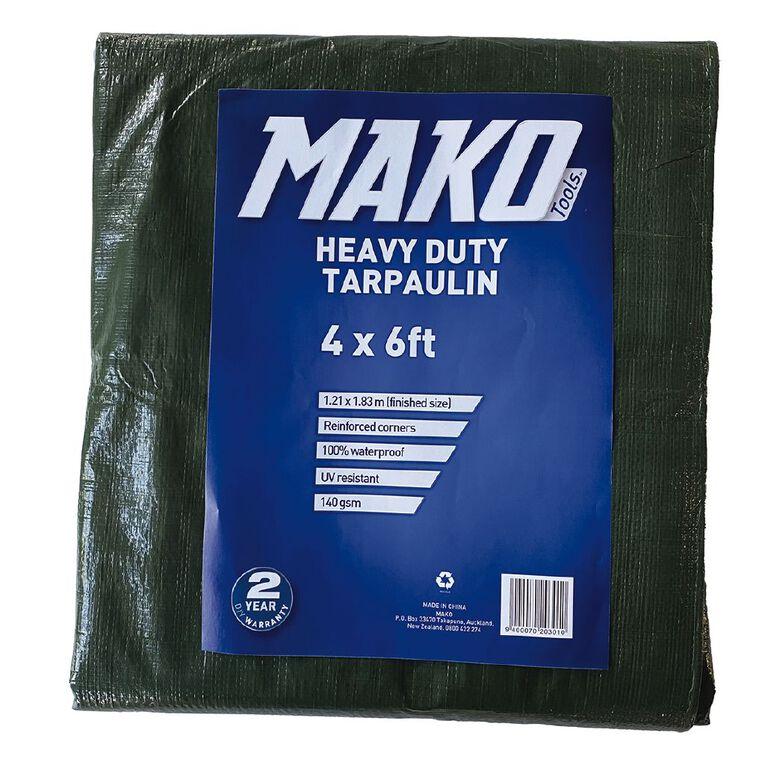 Mako Tarpaulin 140gsm  4ft x 6ft Green, , hi-res