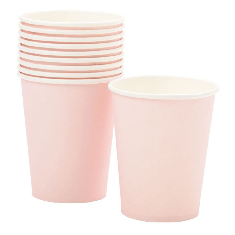 Party Inc Paper Cups 260ml Pastel Pink 10 Pack, , hi-res