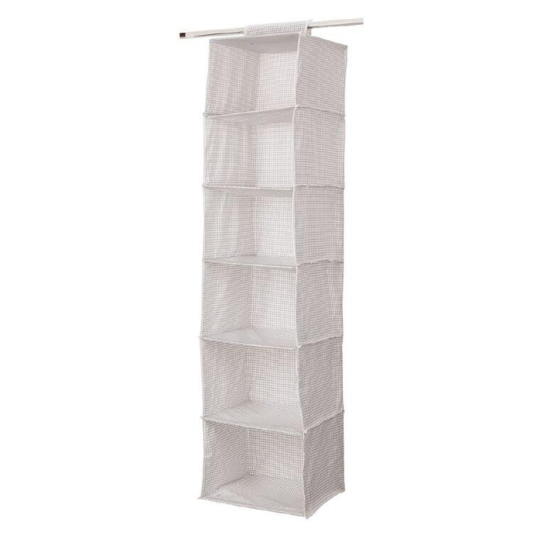 Living & Co Wardrobe Organiser 6 Pocket White, , hi-res