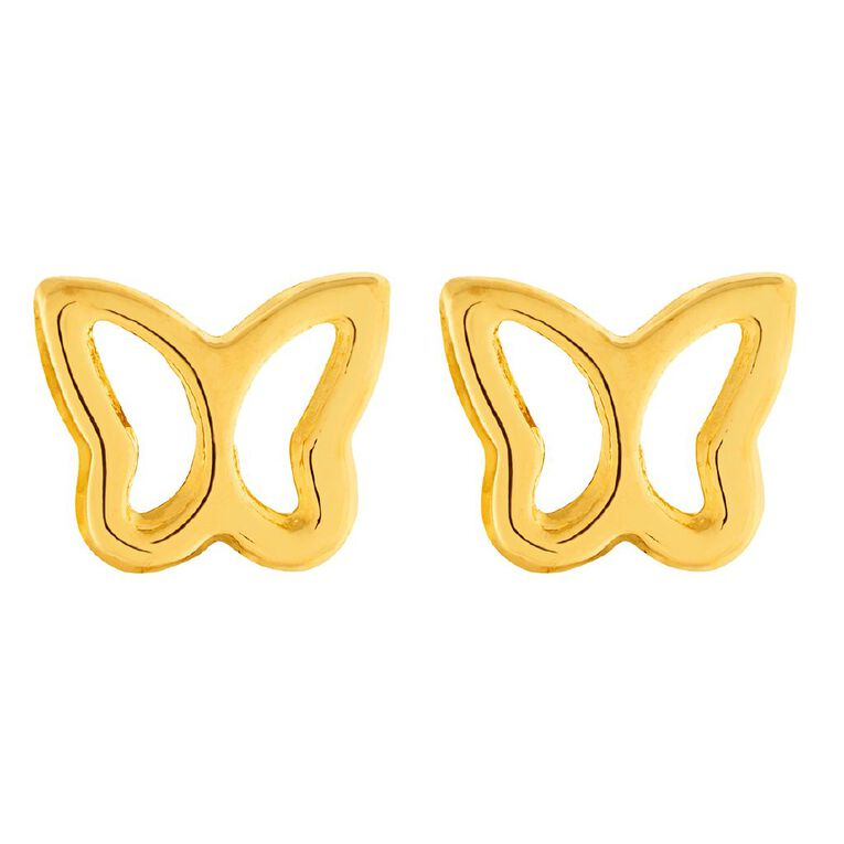 9ct Gold Butterfly Stud Earrings, , hi-res