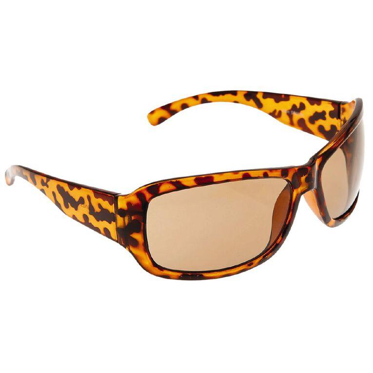 Beach Works Women's Wrap Sunglasses, Brown, hi-res