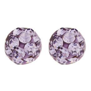 Sterling Silver Purple Crystal Half Ball Stud Earrings