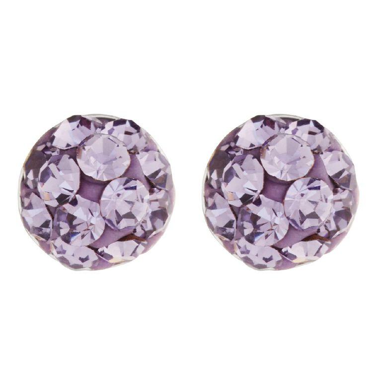 Sterling Silver Purple Crystal Half Ball Stud Earrings, , hi-res