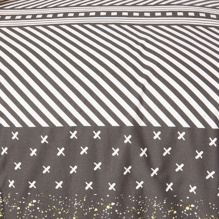 Living & Co Kids Duvet Cover Set Roarsome Black/White King Single, Black/White, hi-res