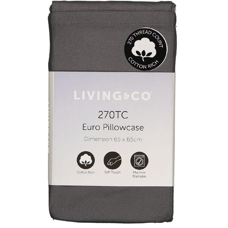 Living & Co Pillowcase Euro Cotton Rich 270 TC Charcoal 65cm x 65cm, Charcoal, hi-res