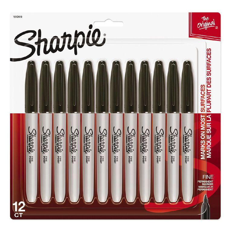 Sharpie Fine Permanent Marker Black 12 Pack, , hi-res