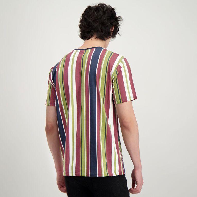 H&H Men's Vertical Stripe Embroidery Tee, Multi-Coloured, hi-res