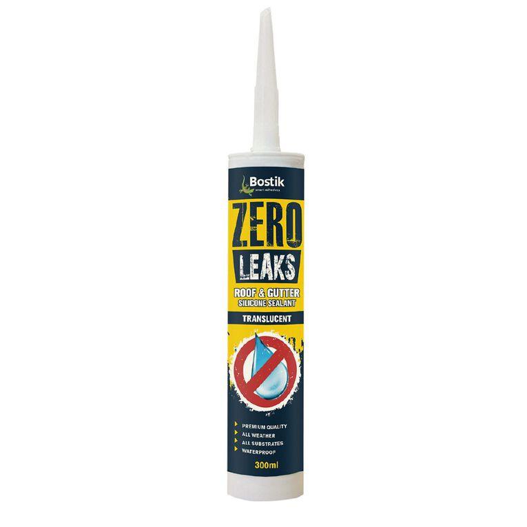 Bostik Zero Leaks Roof & Gutter Silicone Sealant Translucent 300ml, , hi-res