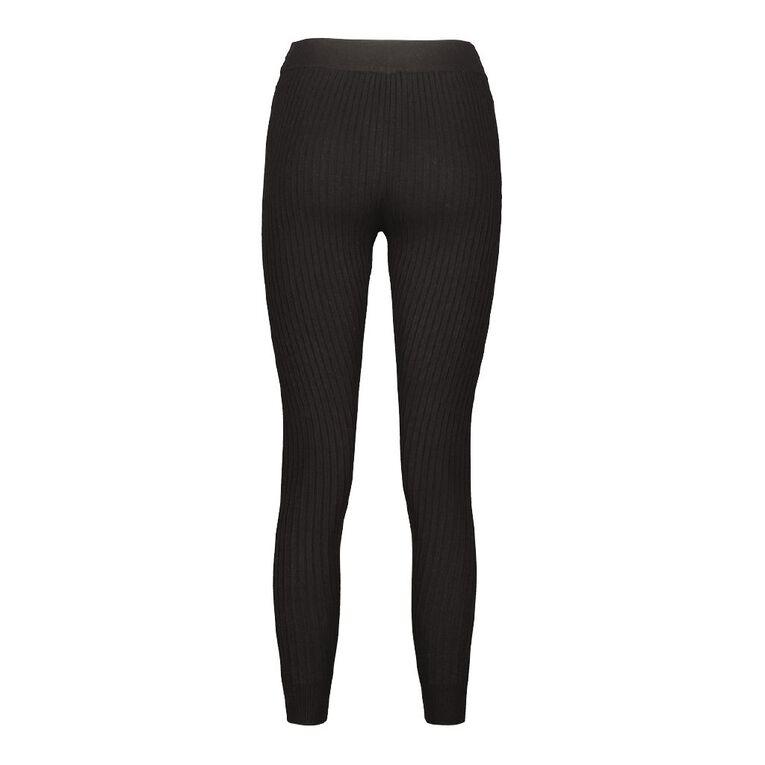 H&H Women's Rib Leggings, Black, hi-res