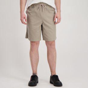 H&H Men's Elastic Waist Plain Drill Shorts