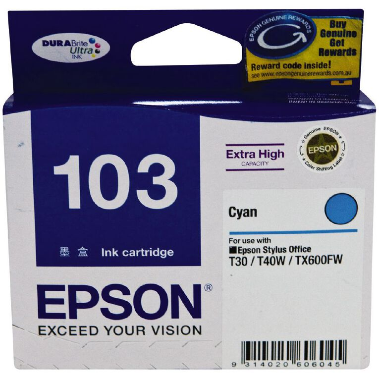Epson Ink T103 Cyan (865 Pages), , hi-res