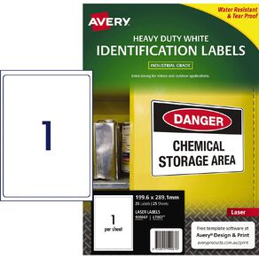 Avery White Heavy Duty Labels White 25 Labels