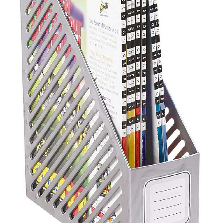 Office Supply Co Magazine File Plastic Silver, , hi-res