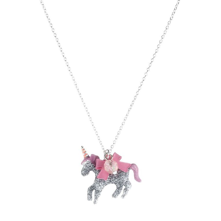Kids Unicorn Bowtie Necklace, Pink, hi-res image number null