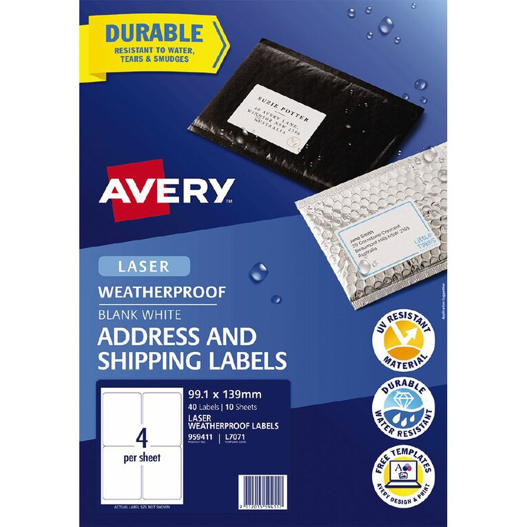 Avery Weatherproof Shipping Labels Laser Printers 99.1x139mm 40 Labels, , hi-res