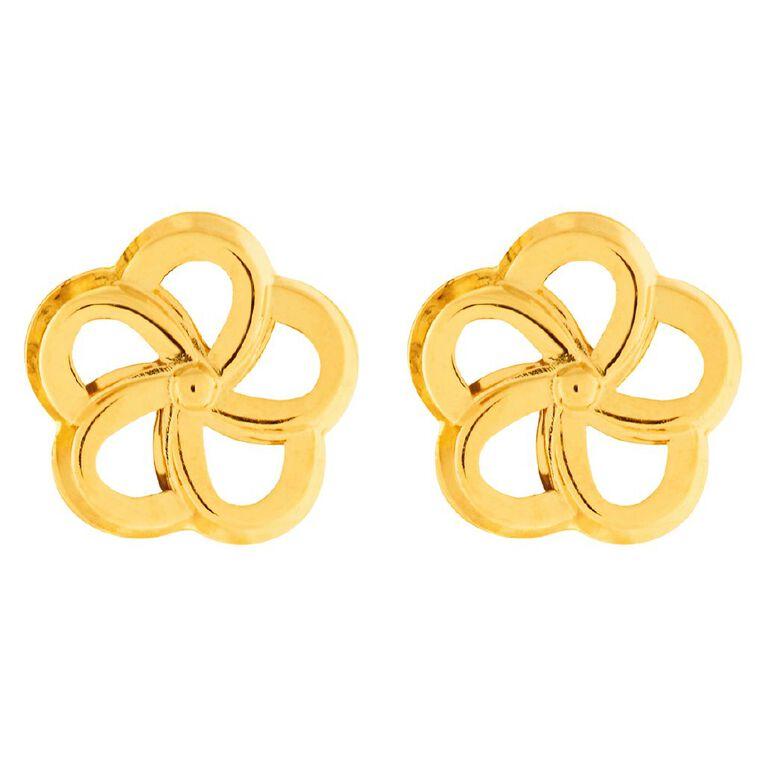 9ct Gold Flower Stud Earrings, , hi-res