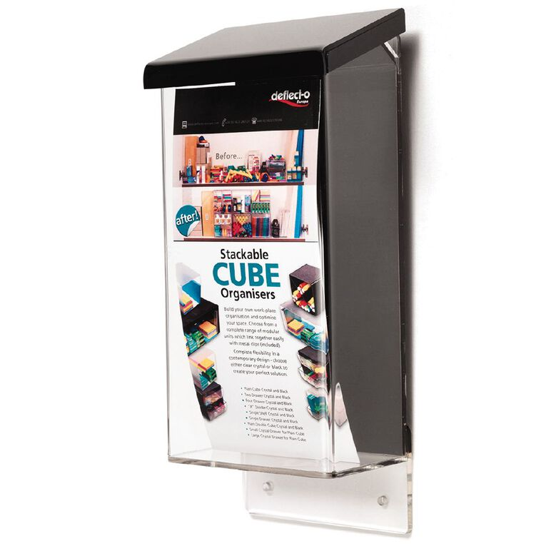 Deflecto Brochure Holder Outdoor DLE Portrait with Black Lid Clear, , hi-res