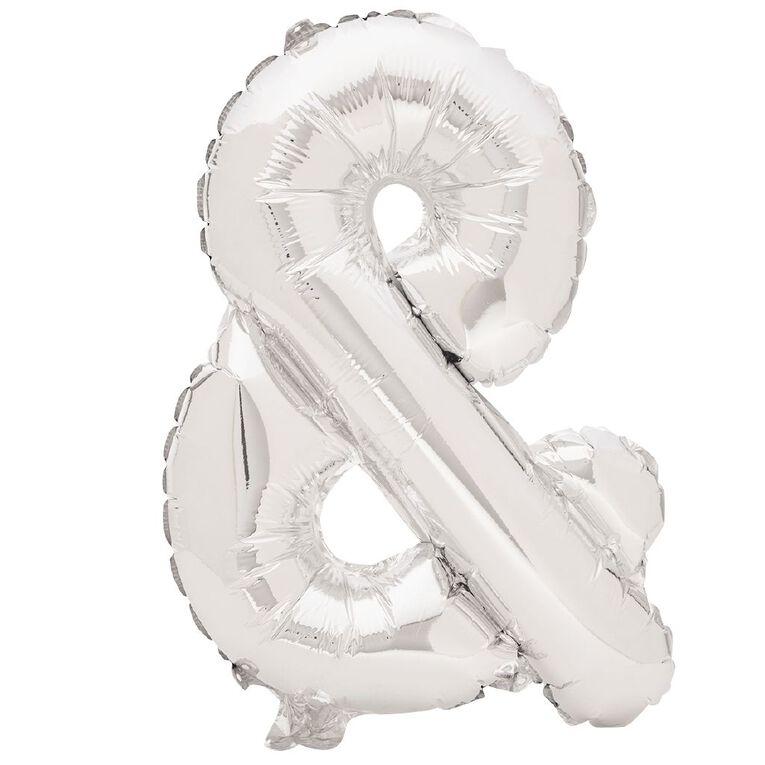 Artwrap Foil Balloon Ampersand Silver 35cm, , hi-res