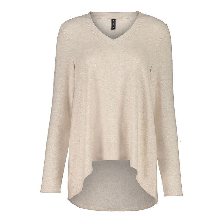 H&H Women's Long Sleeve Brushed Knit Swing Top, Brown Light, hi-res