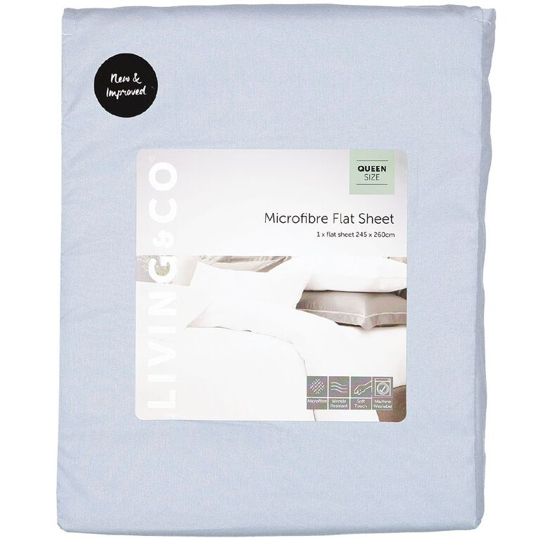 Living & Co Sheet Flat Microfibre Blue Double, Blue, hi-res image number null